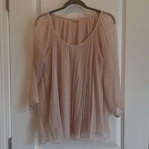 Bellambra Blush Silk Layered Top 3/4 Sleeve Sz M
